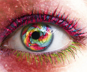 eye, colors, and pink image
