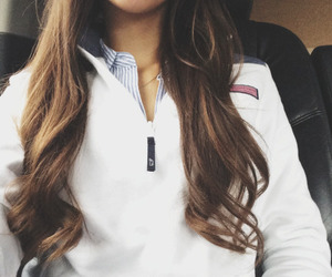 preppy, beautiful, and brunette image