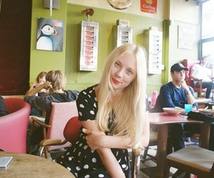 cafe, dotted, and red lips image