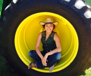 Cowgirl, rodeo, and tractor image
