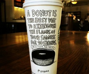 donut, drawing, and starbucks image
