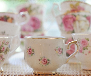 cup, floral, and cute image