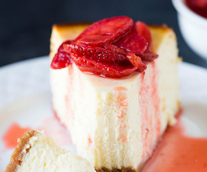 cheesecake, strawberry, and cake image