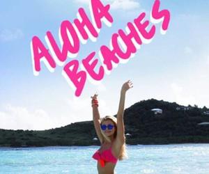 beach, pink, and Aloha image