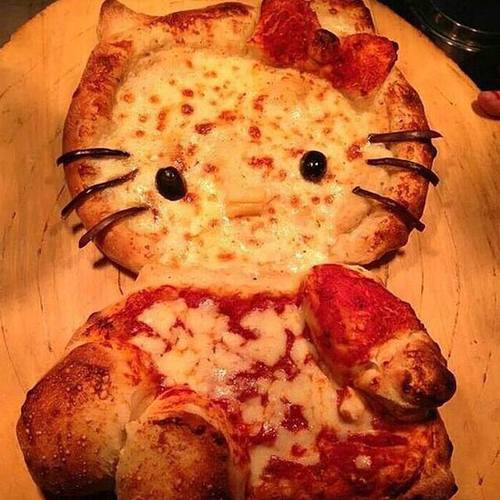 pizza, hello kitty, and food image