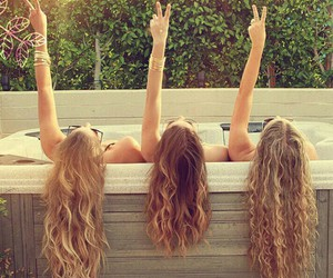 girls, hair, and peace image