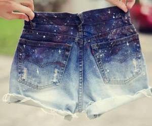 shorts, blue, and galaxy image