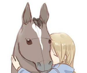 drawing, horse, and love image