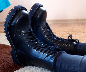 boots, skinhead, and combat boots image
