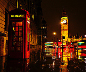 london, night, and light image