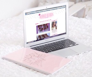 pink, laptop, and macbook image
