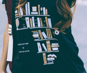 books, fashion, and shirt image