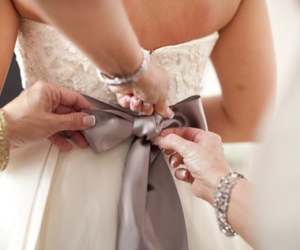 bow, gold, and bride image