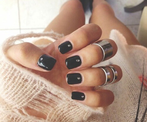 nails, black, and rings image