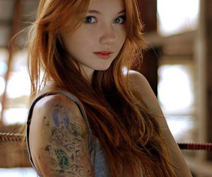 tattoo, redhead, and red hair image