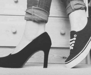 black and white, fashion, and high heels image