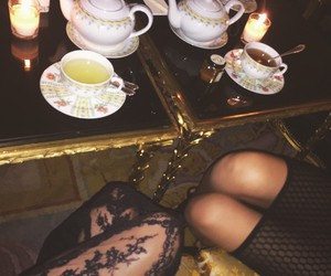 cafe, tights, and lace stockings image
