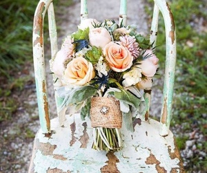 old chair, flowers, and soft image