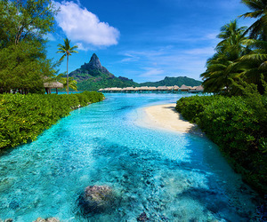 bora bora, summer, and blue image
