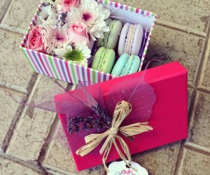 box, present, and flowers image