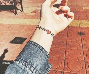 tattoo, heart, and heartbeat image
