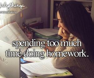 girl, school, and homework image