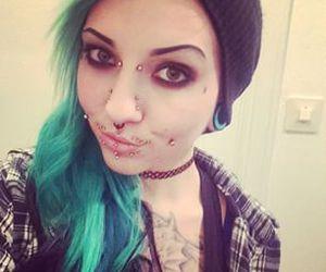 alt girl, green hair, and Piercings image