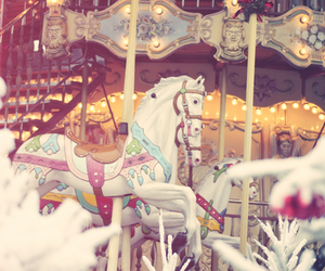 horse, paris, and carousel image
