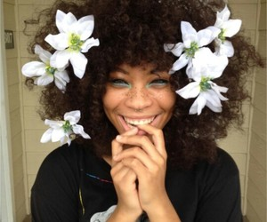 flowers, hair, and smile image