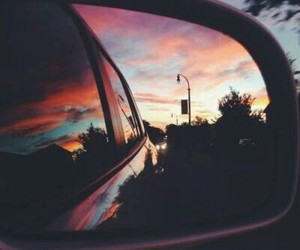 car, sky, and sunset image