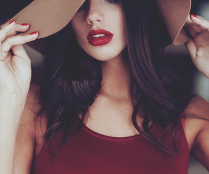 girl, red, and hat image