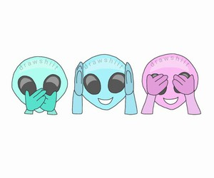 alien, emoji, and blue image
