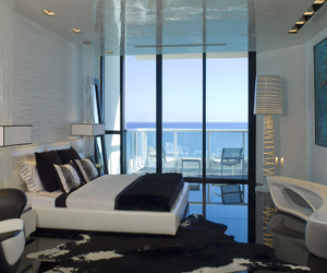 apartment, ocean, and bedroom image
