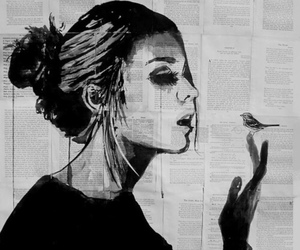 girl, bird, and art image