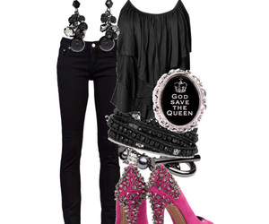 heels, jeans, and pink image