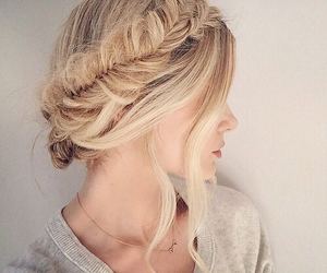 blonde, hair style, and braid image