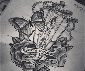 butterfly, drawing, and lantern image