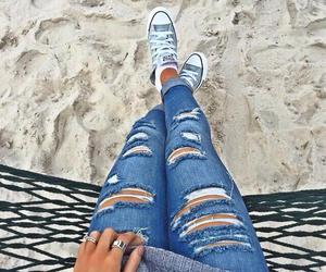 jeans, style, and beach image