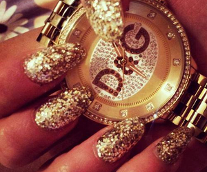 nails, gold, and D&G image