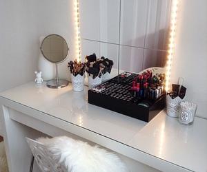 makeup, bedroom, and vanity image
