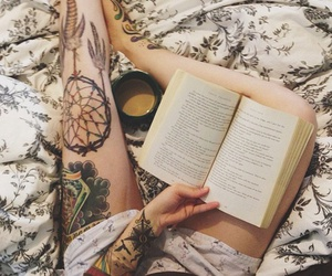 tattoo, book, and coffee image