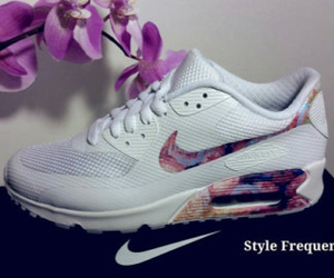 air max, floral, and nike image