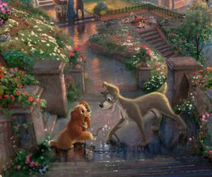 disney, lady and the tramp, and art image