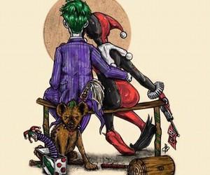 comics, harley, and joker image