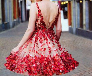 dress, fashion, and red image