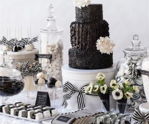 black and white and cake image