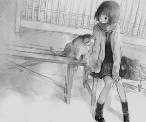 anime, draw, and black and white image
