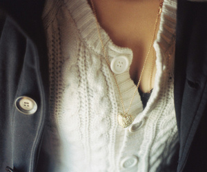girl, necklace, and buttons image