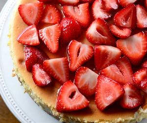 cheesecake and strawberries image