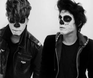 boys, skull, and black image